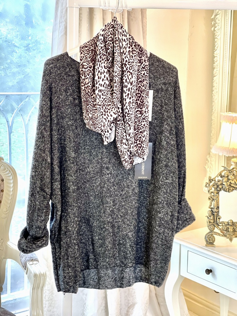 Super Slouchy Knit With Scarf Charcoal