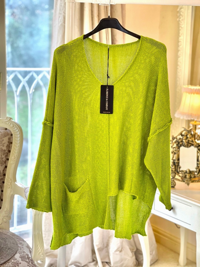 New Season Designer Inspired Asymmetrical Knit Lime