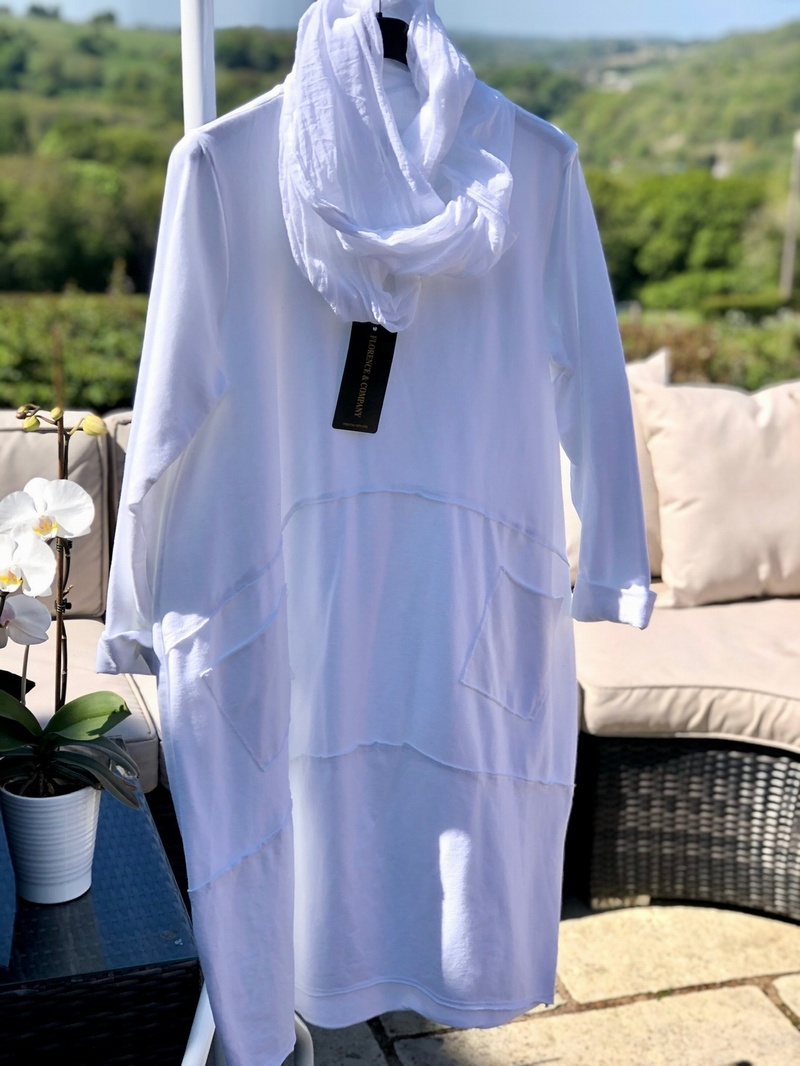 Cowl Scarf Tunic Dress  Artic White