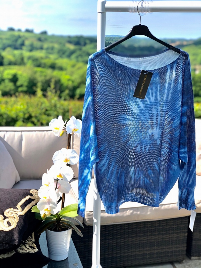 Super Fine knit Tye Die Starburst Blue