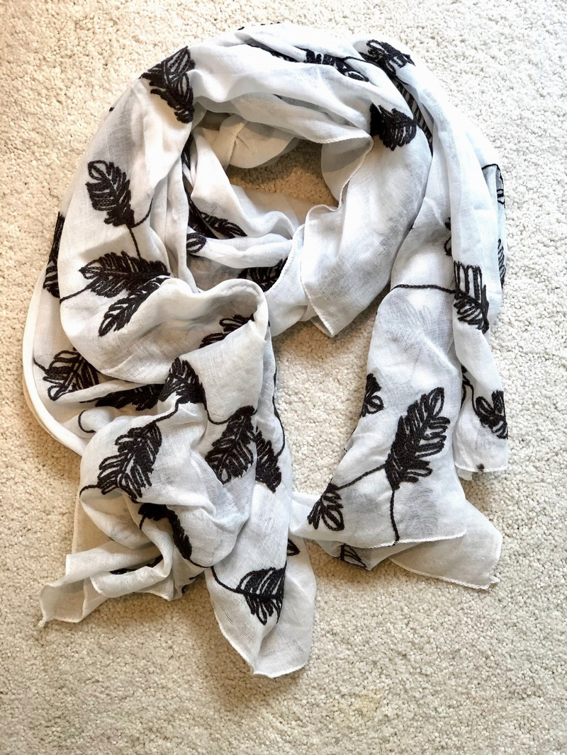 Black leaf Embroidered Scarf White