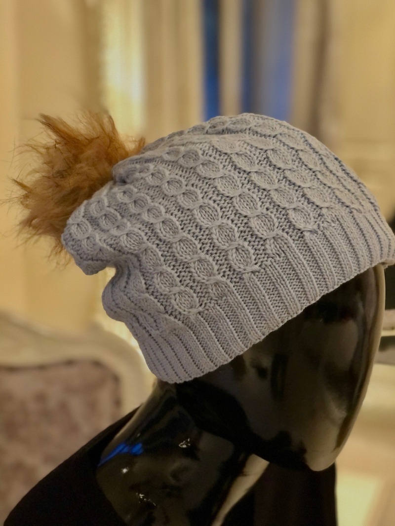 Knit Camel Pom Hat Grey