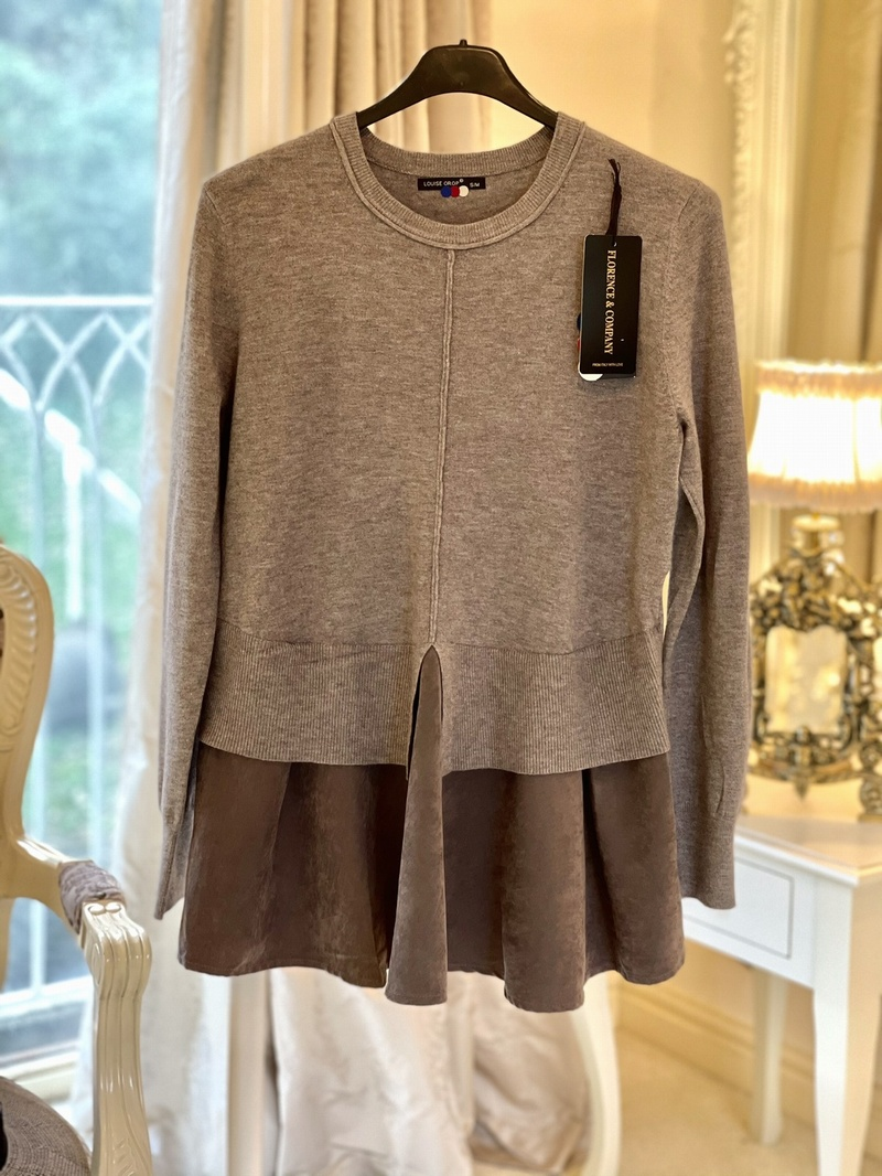 Designer Inspired Peplum Faux Suede Knit Mocha