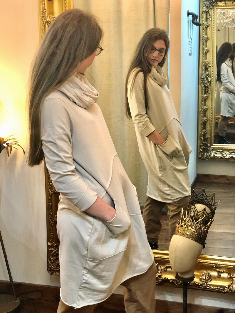 New Season Scarf Tunic Dress Stone