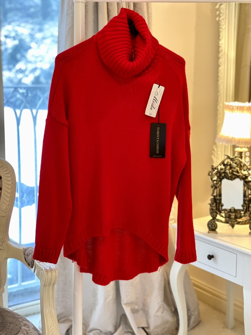 Butler Style Polo Neck Knit Red