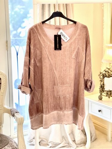 Luxury Loungewear Tunic Top Vintage Pink