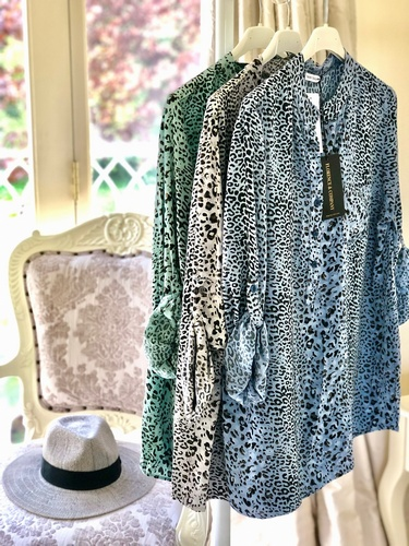 Leopard print Shirt Denim Blue