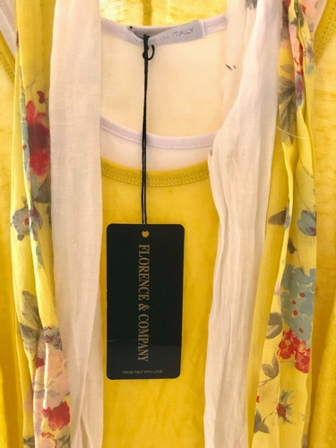 2 Vest Top Vintage Print Complete with Scarf Citrus Yellow