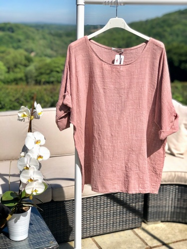 Cheesecloth Top Vintage Pink