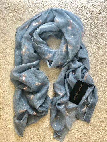 Dragonfly Scarf Vintage wash Chambray Blue