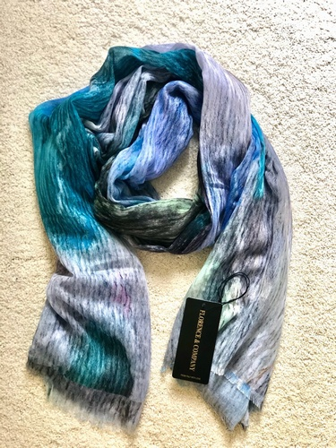 Mint Blues Scarf Touch of Orange