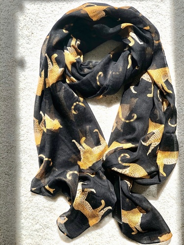 Leopard Design Scarf Black