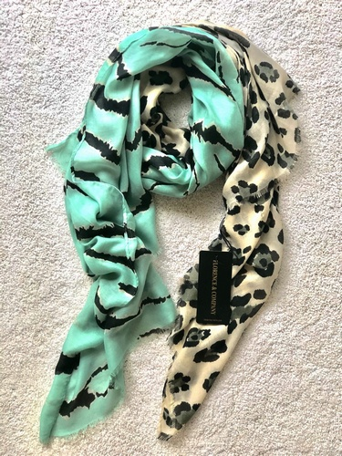 Leopard Accents Scarf Mint
