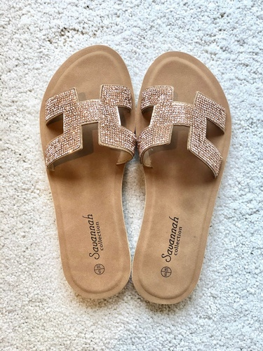 Savannah Diamanté Sandal Rose Gold