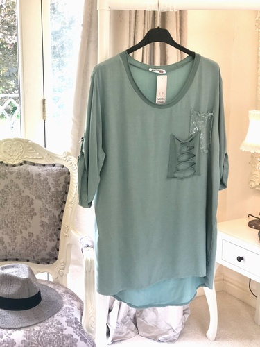 Sparkle cut Out Pockets Top Tiffany
