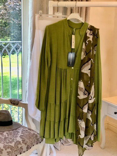 Button Tiered Tunic Apple Green