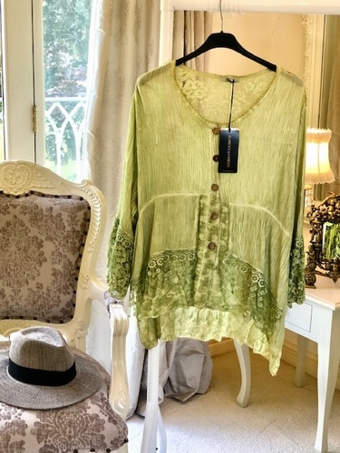 Button Through Detail Top Pistachio