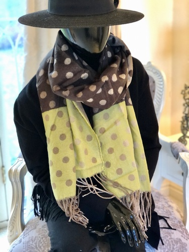 Dots Tassle Scarf Sage/ Brown