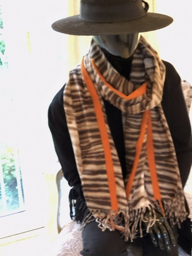 Zebra  Print Orange Stripe Scarf
