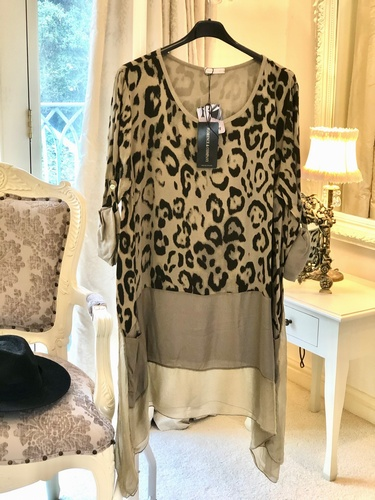 Silk Trim Leopard Design Tunic Dress Stone