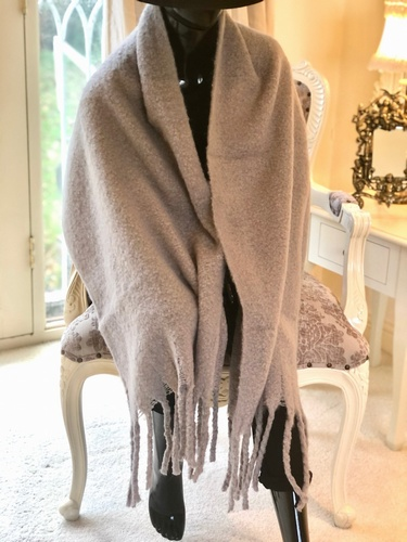 Soft Long  Tassle Wrap Grey