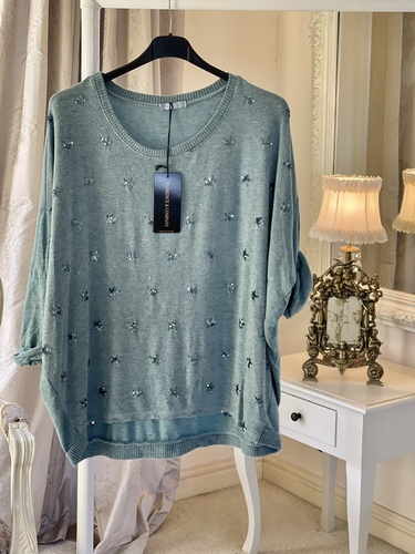 New Season Beautiful Soft Touch Sequin Star Knit Tiffany
