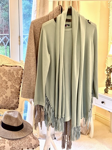 Fringed Knit With Scarf Mocha