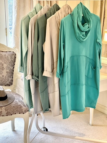 New Season Scarf Tunic Dress Aqua Green